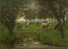 """Mondriaan P.C. - """"Grazende kalfjes"""" (niet te koop) – met 1 mogelijk 2 grazende kalfjes (nog te restaureren); onder deze voorstelling, volgens röntgenfoto, een stilleven met gele appels, kom vaas en boeken., olie op doek 50,2 x 69,3 cm , gesigneerd l.o. en te dateren 1901-1903"""