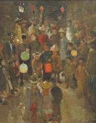 Bauer M.A.J. - Sint-Maartenviering, olie op doek 59 x 46,5 cm , gesigneerd resten van signatuur r.o. en gedateerd 1892-93