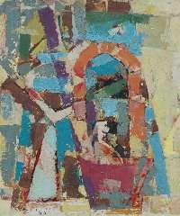 Jordens J.G. - Compositie, olie op board 59 x 50 cm , gesigneerd l.o. en gedateerd '60