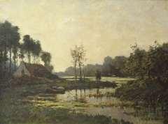 Mondriaan F.H. - Farmhouse along a stream, oil on canvas laid down on board 47.6 x 63.5 cm , signed l.r.