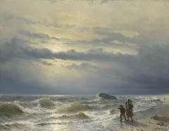 Meijer J.H.L. - Na de schipbreuk, olie op doek 88,8 x 115,4 cm , gesigneerd l.o. en gedateerd 1864