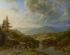 Koekkoek B.C. - Figures and cows in a mountainous landscape, oil on canvas 101 x 128.8 cm , signed l.l. 'B.C. Koekkoek' and 'PG v O' in monogram and painted ca. 1832