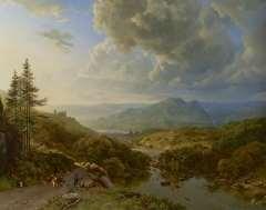 Koekkoek B.C. - Figuren en vee in een berglandschap, olie op doek 101 x 128,8 cm , gesigneerd l.o. 'B.C. Koekkoek voluit en 'PG v O' in monogr. en te dateren ca. 1832