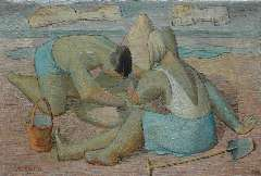 Vloot A.H. van der - Spelende kinderen, olie op doek 20,3 x 30 cm , gesigneerd l.o. en gedateerd '59