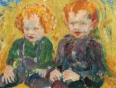 Dijkstra J. - Twee boerenkinderen bij een hooiopper, olie op doek 50,5 x 65,3 cm, gesigneerd r.o. en gedateerd '25