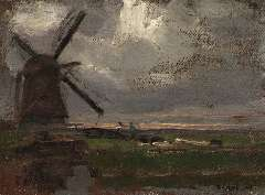 Mondriaan P.C. - The 'Broekzijdse Molen' along the Gein, oil on canvas laid down on panel 34.6 x 46.3 cm , signed l.r. and painted ca. 1905