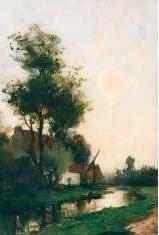 Mondriaan F.H. - Boerderij aan de waterkant, olieverf op paneel 36 x 24,3 cm, gesigneerd l.o.