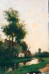 Mondriaan F.H. - Boerderij aan de waterkant, olie op paneel 36 x 24,3 cm , gesigneerd l.o.