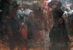 Hem P. van der - De Nes in Amsterdam, olie op doek 130,3 x 190 cm , gesigneerd l.o. en gedateerd 1910