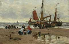 Bartsch W. - Visverkoop op het strand, Katwijk, olie op doek op karton 34,3 x 49,1 cm , gesigneerd r.o.