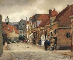 Arntzenius P.F.N.J. - A street in Hoorn with the Kaaswaag in the distance, watercolour on paper 39 x 46.5 cm , signed l.r. and painted in August 1905