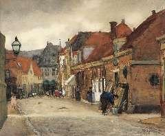 Arntzenius P.F.N.J. - Straatje in Hoorn, met zicht op de Kaaswaag, aquarel op papier 39 x 46,5 cm , gesigneerd r.o. en te dateren aug. 1905