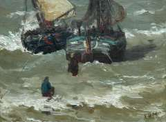 Mesdag H.W. - Two bomschuiten in the surf, oil on canvas 29.2 x 38.5 cm , signed l.r. with initials