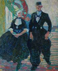 Sluiter J.W. - Dutch couple of Volendam, oil on canvas 75.8 x 62.5 cm