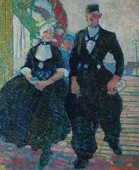 Sluiter J.W. - Een Volendams paar, olie op doek 75,8 x 62,5 cm