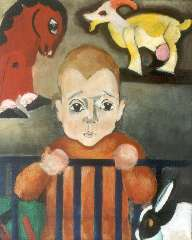 Berg E. - Jongen met speelgoeddieren, olie op doek 46,4 x 38,5 cm, gesigneerd l.o. en te dateren ca. 1930