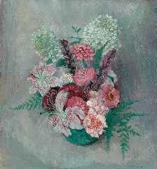 Jong G. de - Bloemstilleven met zinnia's en lelies, olie op doek 46,2 x 42,3 cm , gesigneerd r.o.
