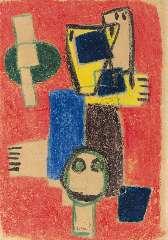 Appel C.K. - Spelende kinderen, waskrijt op papier 30,2 x 20,3 cm , gesigneerd m.o. en r.o. en gedateerd '48