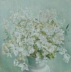 Fernhout E.R.J. - Boeket wilde bloemen, olie op doek 35 x 35 cm , gesigneerd r.o. met initiaal en gedateerd '35
