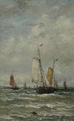 Mesdag H.W. - Bomschuiten op zee, olie op doek 78,2 x 48,2 cm , gesigneerd r.o. en gedateerd 1899