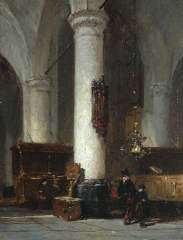 Bosboom J. - Interieur van de Hervormde Kerk te Hattem, olie op paneel 17,6 x 13,4 cm , gesigneerd m.o.