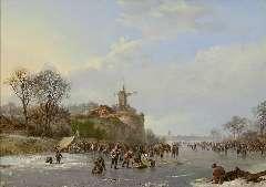 Koekkoek B.C. - IJsvermaak op de rivier, olieverf op paneel 31,4 x 43,9 cm, gesigneerd r.o. en gedateerd 1827