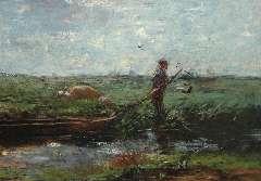 Maris W. - Boer met praam in weidelandschap, olie op doek 66 x 94 cm , te dateren 1906