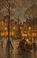 Richters M.J. - De mosselkraam op de Nieuwe Markt in Rotterdam, bij avond, olieverf op paneel 32,5 x 21,4 cm, gesigneerd l.o. en te dateren ca. 1910-1915