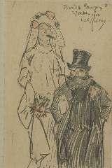 Sluiter J.W. - Bruid en bruigom, potlood op papier 19,5 x 12,5 cm, gesigneerd r.b. en gedateerd 27 october 1910