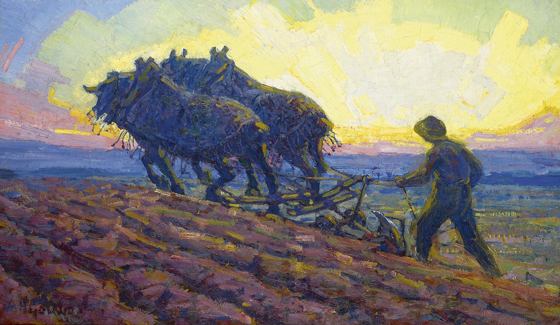 Gouwe A.H. - Ploegende paarden bij zonsopkomst, olieverf op doek 48,8 x 82 cm, gesigneerd l.o. en te dateren ca. 1916-1918