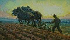 Gouwe A.H. - Ploegende paarden bij zonsopkomst, olie op doek 48,8 x 82 cm , gesigneerd l.o. en te dateren ca. 1916-1918