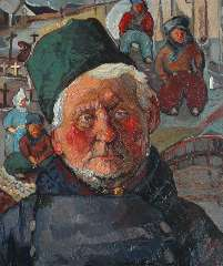 Kruijsen J. - Vissersportret, olie op board 59,7 x 50,3 cm , gesigneerd r.o. en gedateerd '35