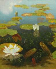 Smorenberg D. - Water lilies, oil on canvas 59.8 x 49.8 cm , signed l.r.