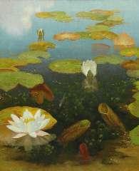 Smorenberg D. - Waterlelies, olie op doek 59,8 x 49,8 cm , gesigneerd r.o.