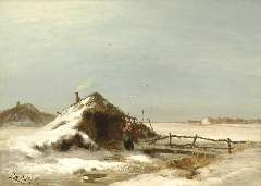 Apol L.F.H. - A winter landscape, oil on canvas 47.2 x 64.2 cm , signed l.l. and painted between 1871-1873