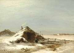 Apol L.F.H. - Winterlandschap met plaggenhut, olie op doek 47,2 64,2 cm , gesigneerd l.o. en te dateren 1871-1873