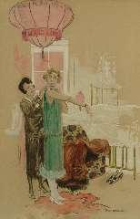 Hem P. van der - De 'finishing touch', krijt en aquarel op papier 45,5 x 31 cm, gesigneerd r.o.