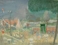 Rozendaal W.J. - Speeltuin op Voorne, gouache op papier 40 x 51,2 cm , gesigneerd r.o. and gedateerd 'Voorne 1939'