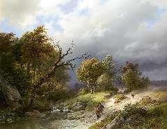 Koekkoek B.C. - Opkomend noodweer, olie op paneel 65,5 x 83,7 cm , gesigneerd r.o. en gedateerd 1843