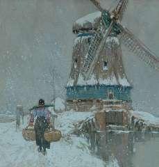 Cassiers H. - Molen in Volendam, aquarel en gouache op papier 23,5 x 22,5 cm , gesigneerd l.o. en te dateren ca. 1917