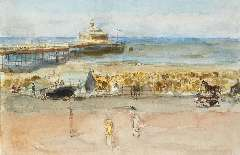 Israels I.L. - A sunny day on the Scheveningen boulevard, watercolour and gouache on paper laid down on board 33.7 x 50.6 cm , painted 1915-1919