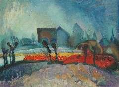 Kruyder H.J. - Bollenveldjes, olie op doek 41,9 x 56,3 cm , gesigneerd r.o. en te dateren ca. 1920
