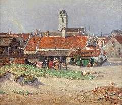 Riess P. - Gezicht op Katwijk aan Zee met de Oude Kerk, olie op doek 60,9 x 70,6 cm , gesigneerd r.o.