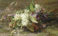 Sande Bakhuyzen G.J. van de - A still life of flowering springs and violets, oil on panel 22.9 x 36.3 cm , signed l.r.