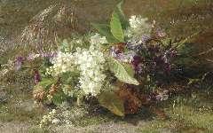 Sande Bakhuyzen G.J. van de - Boeket met bloesemtakken en viooltjes op de bosgrond, olie op paneel 22,9 x 36,3 cm , gesigneerd r.o.