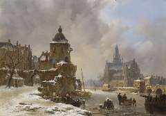 Hove B.J. van - Winters stadsgezicht met bevroren rivier, olieverf op paneel 34,2 x 48,5 cm, gesigneerd l.o.