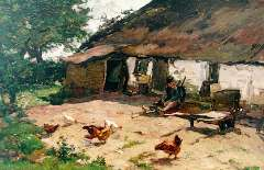 Akkeringa J.E.H. - A farmyard with chickens, oil on canvas 40 x 62.3 cm , signed l.l.
