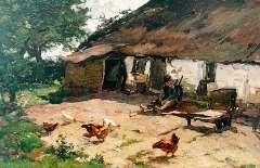 Akkeringa J.E.H. - Boerenerf, olieverf op doek 40 x 62,3 cm, gesigneerd l.o.