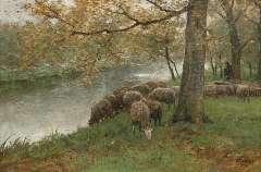 Mauve A. - Drinkende schapen bij een rivier, olieverf op doek 60,5 x 90,2 cm, gesigneerd r.o.