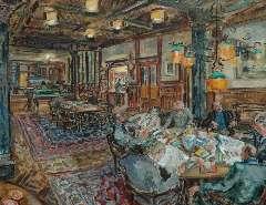 Sluijters jr. J. - De leeszaal van Arti Amsterdam, olie op doek 70,2 x 90,2 cm , gesigneerd r.o. en gedateerd '60